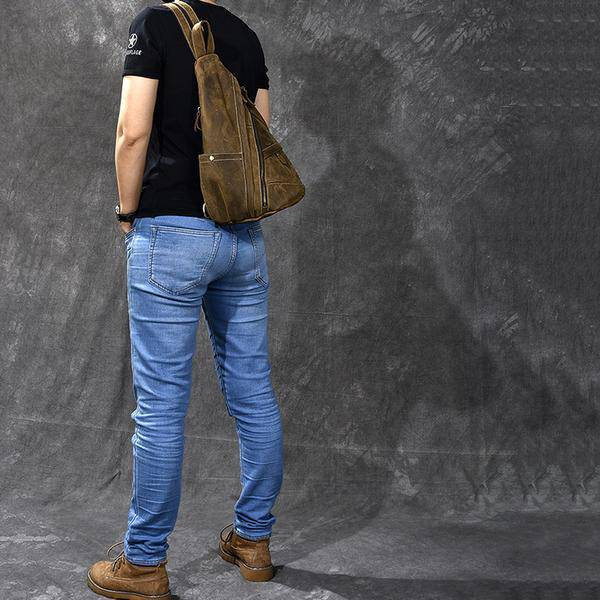 Sale, Horse Leather Men Chest Bag, Vintage Chest Pack Backpack image 4