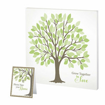 guest signing tree canvas wedding guest book alternative - $14.36