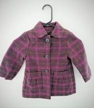 Circo 2T Girls Pink/Brown Plaid Acrylic/Wool Coat - $9.50