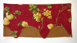 WAVERLY MISTRAL VALANCE PEARS POMEGRANATES GRAPES RED GINGHAM SCALLOPED ... - $14.44
