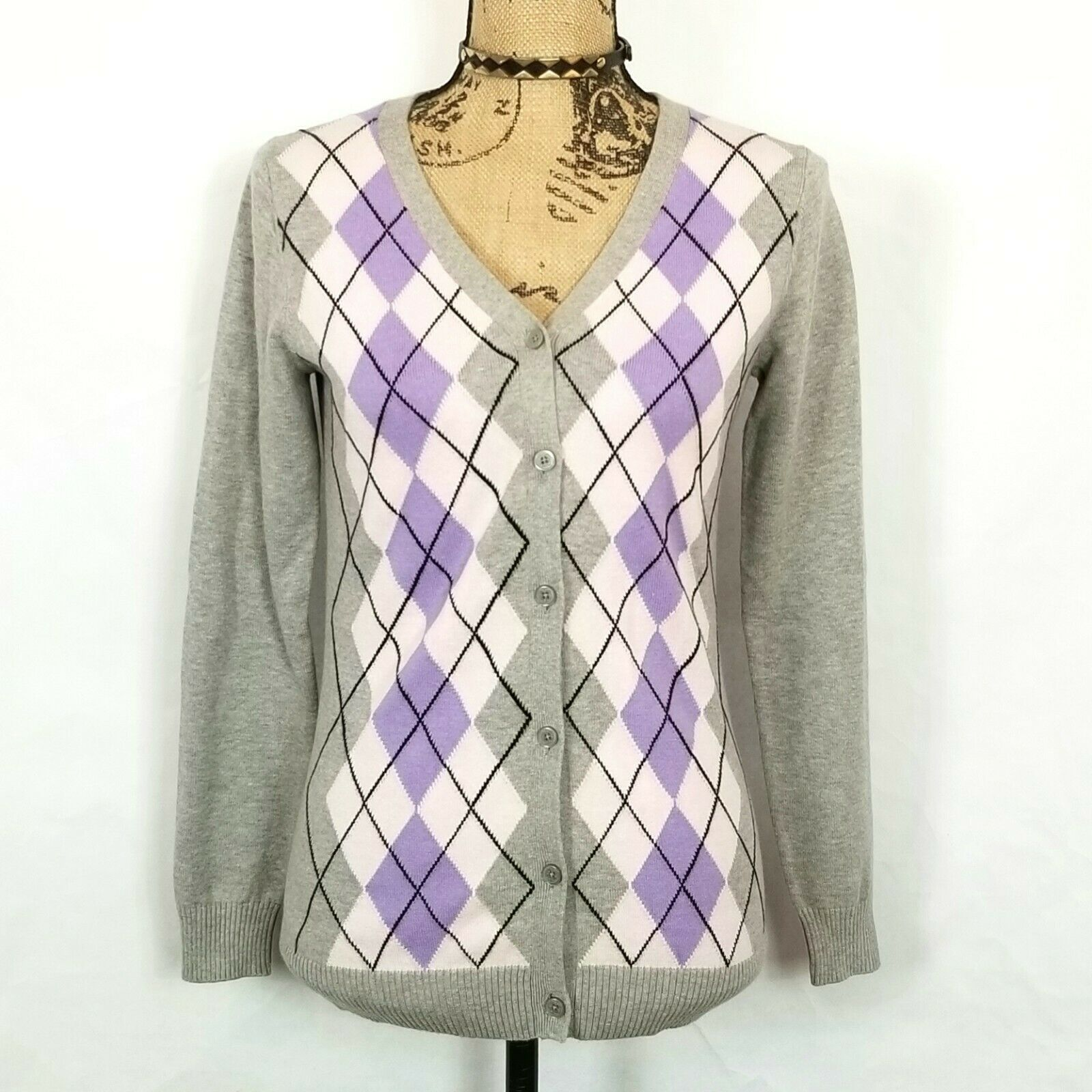 Liz Claiborne NY Gray Purple Pink Argyle Diamond Cardigan Sweater Size XXS