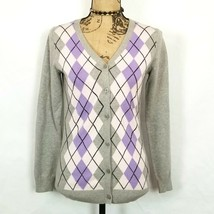 Liz Claiborne NY Gray Purple Pink Argyle Diamond Cardigan Sweater Size XXS image 1