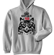 KEEP CALM & FEED CAT 4  P  - NEW COTTON GREY HOODIE - $39.80