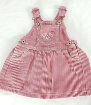 Osh Kosh Denim Overalls Dress 9M Red White Stripes Jumper Cotton - $16.82