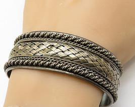 SAMUEL BENHAM 925 Silver - Vintage Large Basket Net & Rope Cuff Bracelet... - $168.39