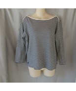 Lauren Ralph Lauren top tee boat neck  Large black white stripe 3/4 sleeves - $13.62