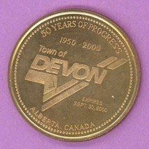 2000 Devon Alberta Trade Token or Dollar 50 Years of Progress Aureate Steel - $3.00