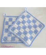 2 Potholders Cotton Crochet Light Blue White Buffalo Check Beach House H... - $16.99