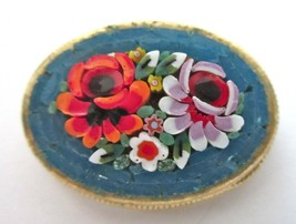 Vintage Teal Micro Mosaic Brooch/Pin - Flowers/Floral - Italy - $18.00