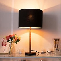 Wellmet Wood Table Lamp with 13 inch Black Drum Shade,Modern Side Table Lamps fo
