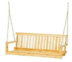 Outdoor Wooden Swing 4-Foot Seat W/ Chains; Unfinished Cypress Wood Hanging - $138.55