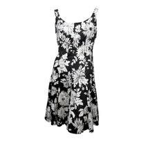 Rena Rowan Womens Black White Floral Sleeveless Fit & Flare Mini Dress S... - $13.86