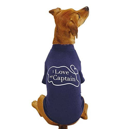 East Side Collection Polyester/Cotton All Paws on Deck Captain Dog Tee, Small, B