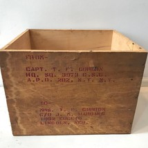 Vintage WW2 WWII Wood Shipping Crate Stenciled Mailing Box Air Force Cap... - $39.95