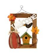 ~~ Fall WELCOME Birdhouse/Pumpkin/leaves Hanging Wall Door Sign Plaque D... - $12.00