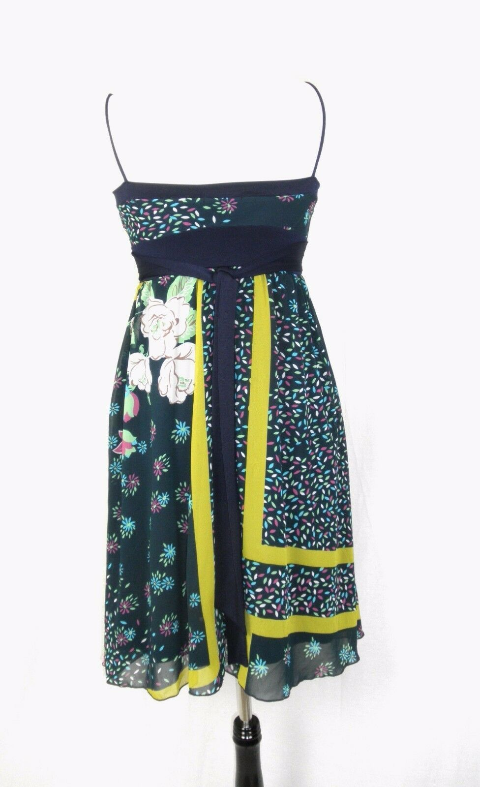 Forever Filmy Dual Layer Mod Floral Spaghetti Strap Sun Dress Small S Boho