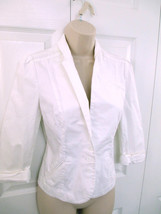 Express White 3 Button Dress Jacket Coat Women Sz 2 Fitted Faux Pockets ... - $25.69