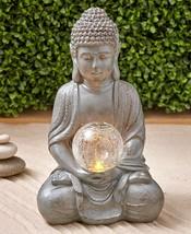 Buddha Statue Serenity Solar Light Garden Round Square Pagoda Lantern Lo... - $24.97