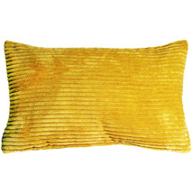 Pillow Decor - Wide Wale Corduroy 12x20 Yellow Throw Pillow - £22.86 GBP