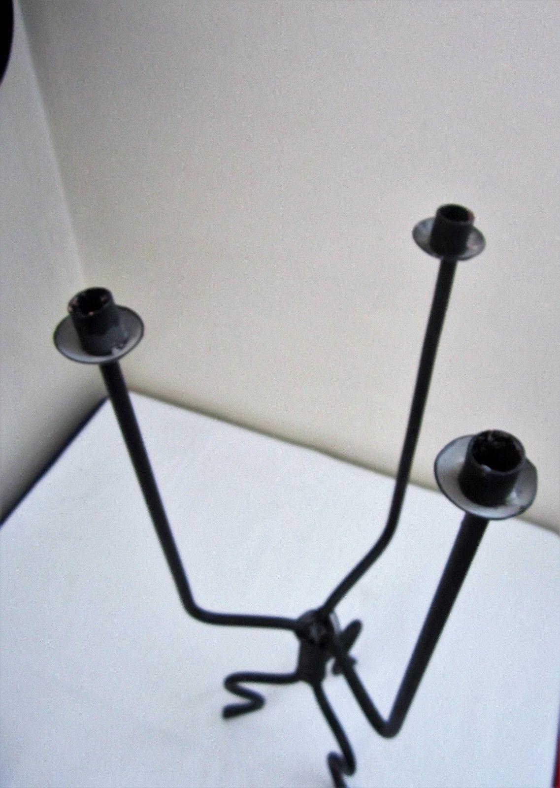 Tall Iron Taper Candle Holder Metal Candelabra Eccentric Unique Home Decor