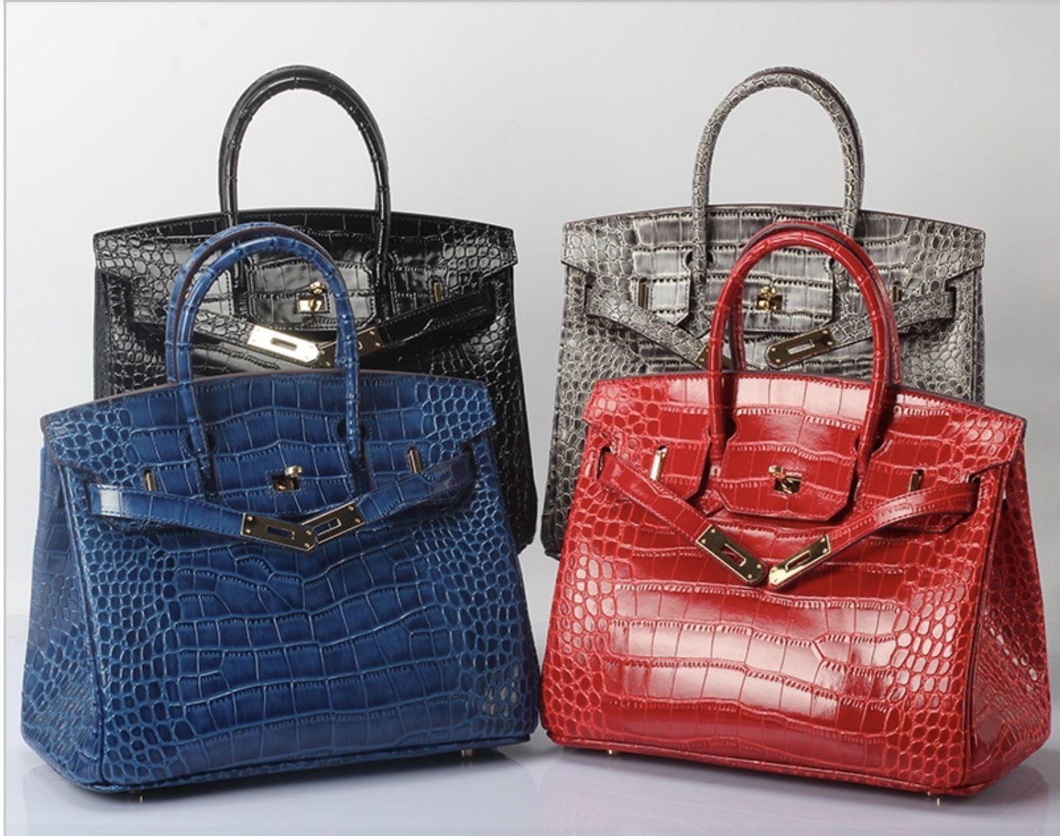 30cm Crocodile Pattern Birkin Style Italian Leather Bag Satchel Handbag 1632M