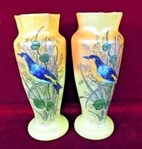 Pair Satin Blue Bird Vases Glass  Burnt Orange  Pair 11 1/2  inch Tall - $120.00