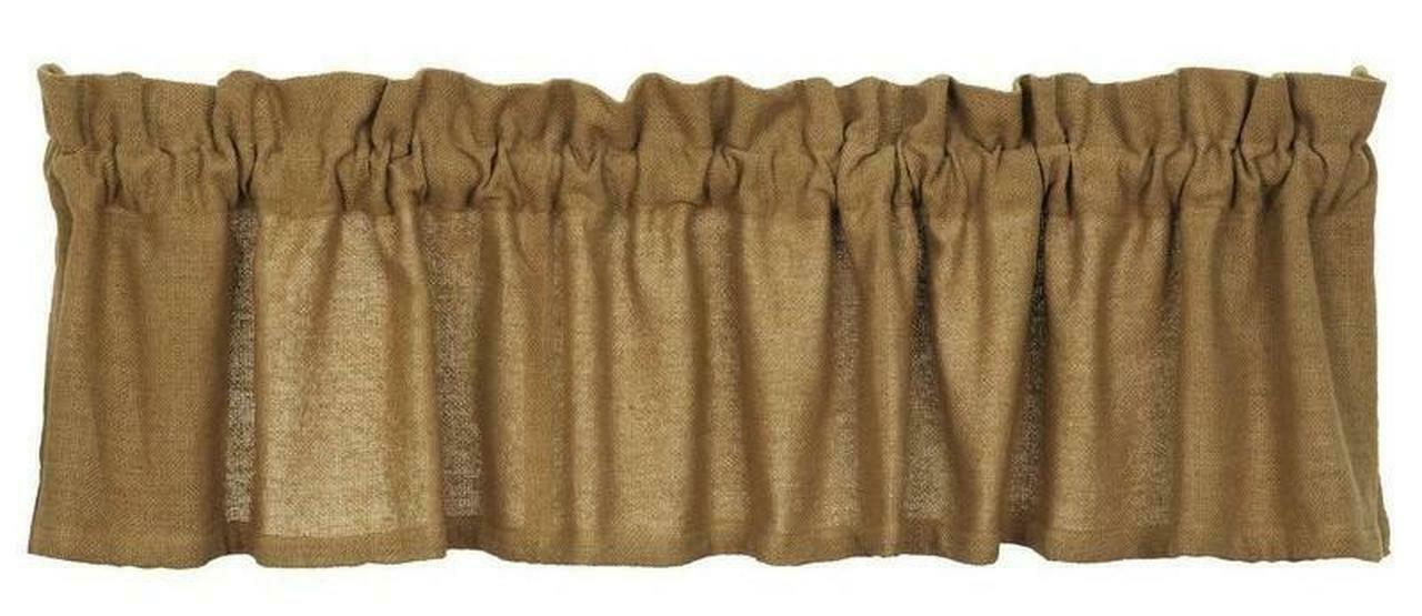 "Primary image for farmhouse country primitive rustic Tan Deluxe BURLAP VALANCE curtain 16"" x 90"""