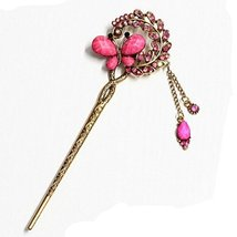 Chinese Traditional Metal Shinning Butterfly Ladies/ Girls Hair Stick, HOT PINK