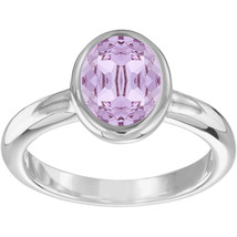 Authentic Swarovski Laser Rhodium Ring with Violet Crystal-size US 8 - $65.45