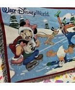 Walt Disney Monde Mickey Minnie Mouse Patinage Noël 60x50 Jeté Couverture - $34.49