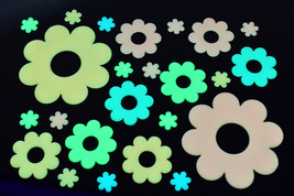24 Piece Glow in the Dark Multicolor Flowers Wall Decor - $7.95