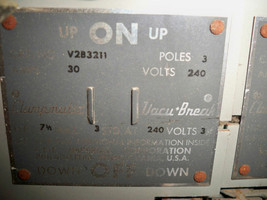 ITE/Siemens V2B3211 30A TWIN 3P 240V Vacu-Break Panelboard Switch Reconditioned - $200.00