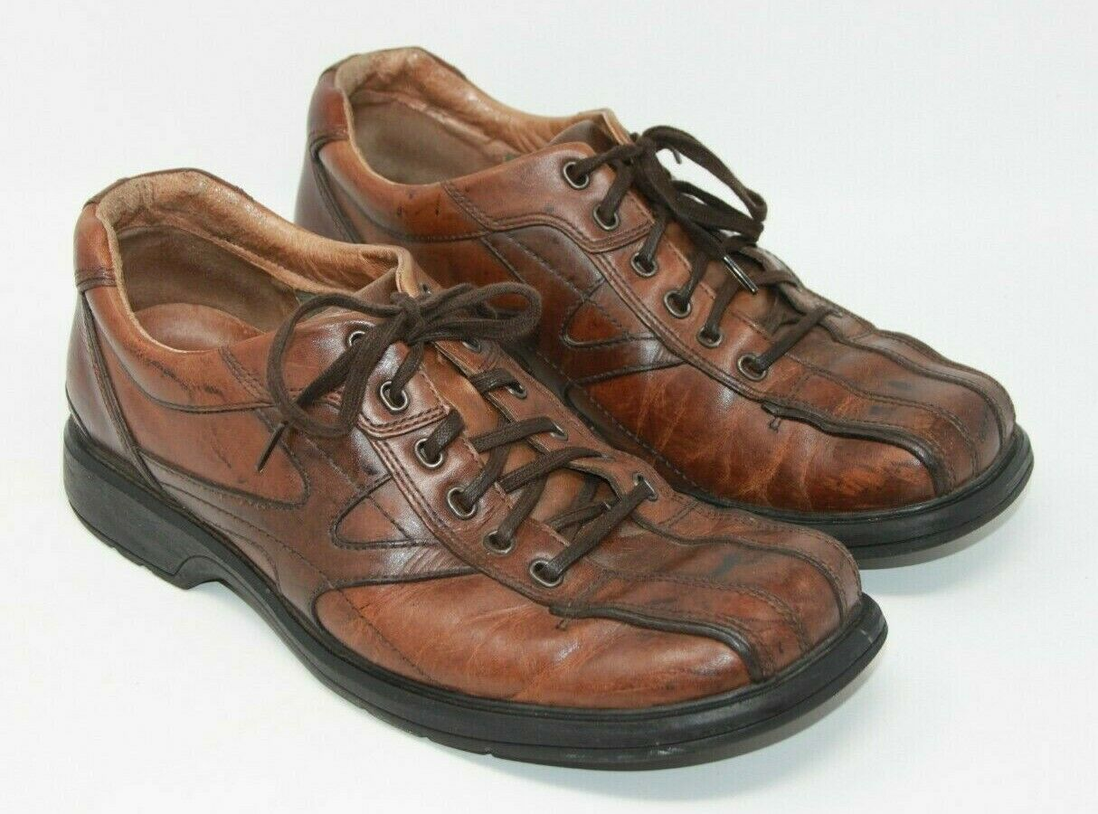 Clarks 10 Men's Lace-Up Brown Leather Bicycle Toe Casual Oxfords Shoes 78311