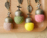 De wool felt acorn long necklaces pendants collar 2015 vintage jewelry accessories thumb155 crop