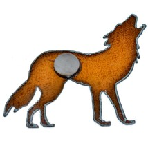Rustic Country Rusted Patina Iron Metal Cutout Howling Wolf Refrigerator Magnet image 2