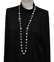 Authentic Chanel Classic 5 Crystal CC Logo Long Beaded Faux Pearl Necklace MINT image 7