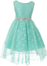 Flower Girl Dress Hi-Low Style Lace Allover Mint MBK 360 - $39.59+