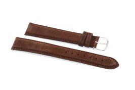 TIMEX LONG 18MM BROWN PADDED STITCHED NUBUCK LEATHER WATCH BAND STRAP - $12.38