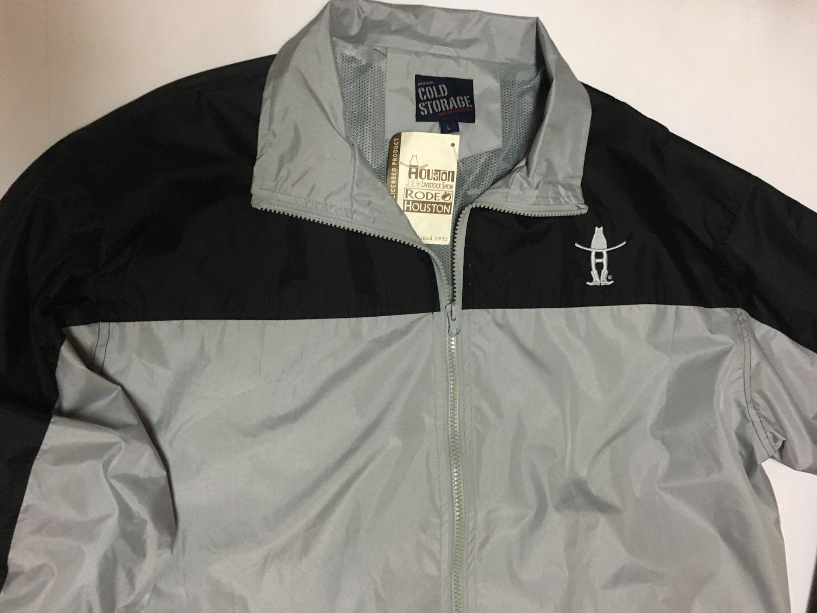 Cold Storage Houston Rodeo Windbreaker Jacket NWT Sz L Black & Gray