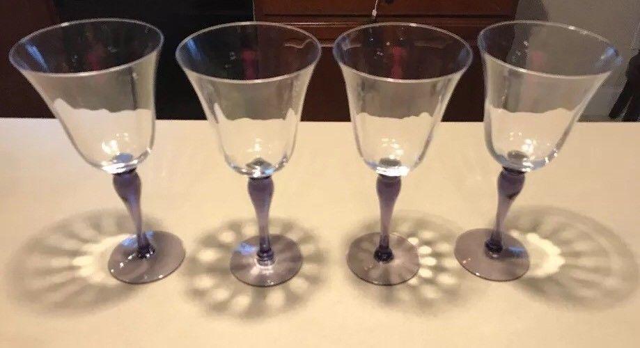 "4 Amethyst Lavender Stemmed 9.5"" Tall Crystal Wine Glasses / Goblets Bell Shaped"