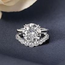 Certified 4.25Ct White Round Diamond Engagement Wedding Ring Set 14K Whi... - £243.25 GBP