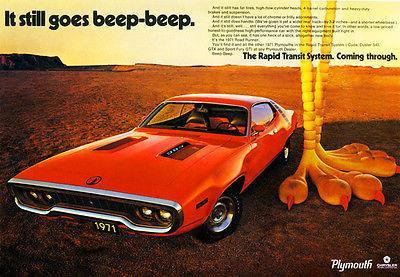 Primary image for 1971 Plymouth Roadrunner - Promotional Advertising Poster