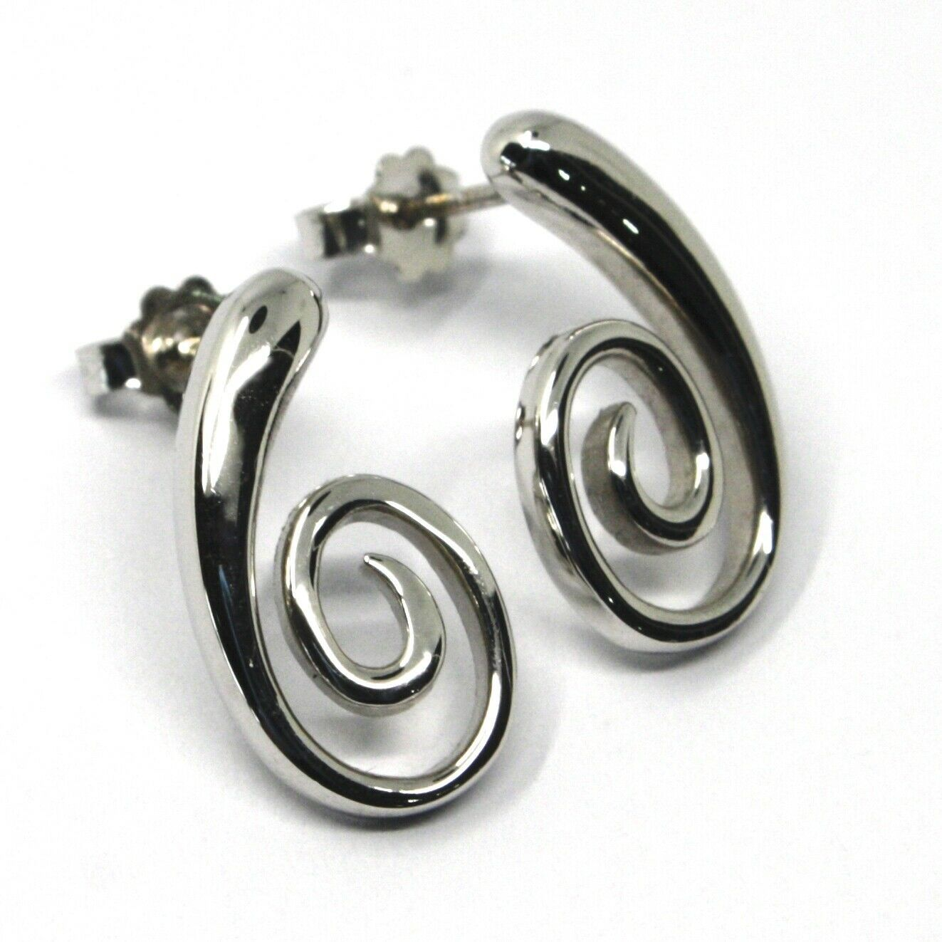 SOLID 18K WHITE GOLD PENDANT EARRINGS, SPIRAL, OVAL, PENDANT, MADE IN ITALY