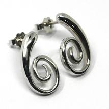 SOLID 18K WHITE GOLD PENDANT EARRINGS, SPIRAL, OVAL, PENDANT, MADE IN ITALY image 1