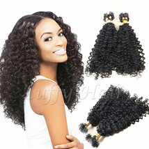 Kinky Curly Micro Loop Ring Beads Hair extension 100% Curly Human Hair 1... - $51.08+