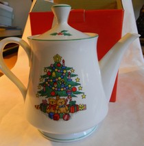 Porcelain 4 Tea Pot Hand Decorated CHRISTMAS TIME in Original Box FREE S... - $23.36