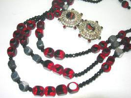VINTAGE HOBE GIVRE GLASS RHINESTONE CLIP ON EARRINGS & GLASS RED BLACK N... - $165.00