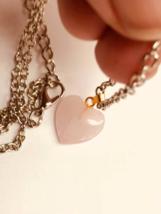 Beautiful Rose Quartz Heart Necklace, Handmade, Other Metals - $9.00
