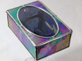 "STAINED GLASS JEWELRY BOX WITH A CRYSTAL CLEAR 3"" x 5"" OVAL BEVEL SET IN... - €36,84 EUR"
