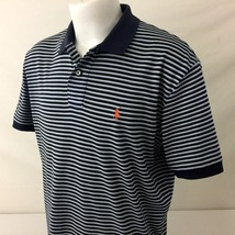 Polo by Ralph Lauren Mens Polo Shirt Large Blue Striped Long Tail 100% C... - $29.99